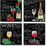 Beautiful, Popular, Fun, Chalkboard-Style Kitchen Wine Signs; Four 12x12in Paper Poster Prints