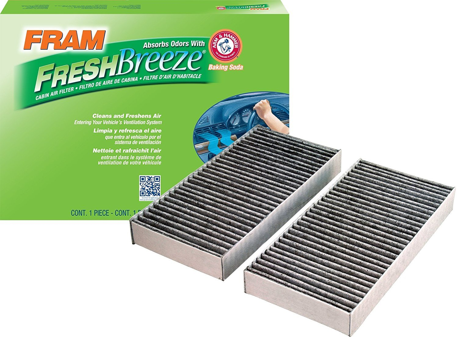 FRAM CF10135 Fresh Breeze Cabin Air Filter with Arm & Hammer (Pack of 2)