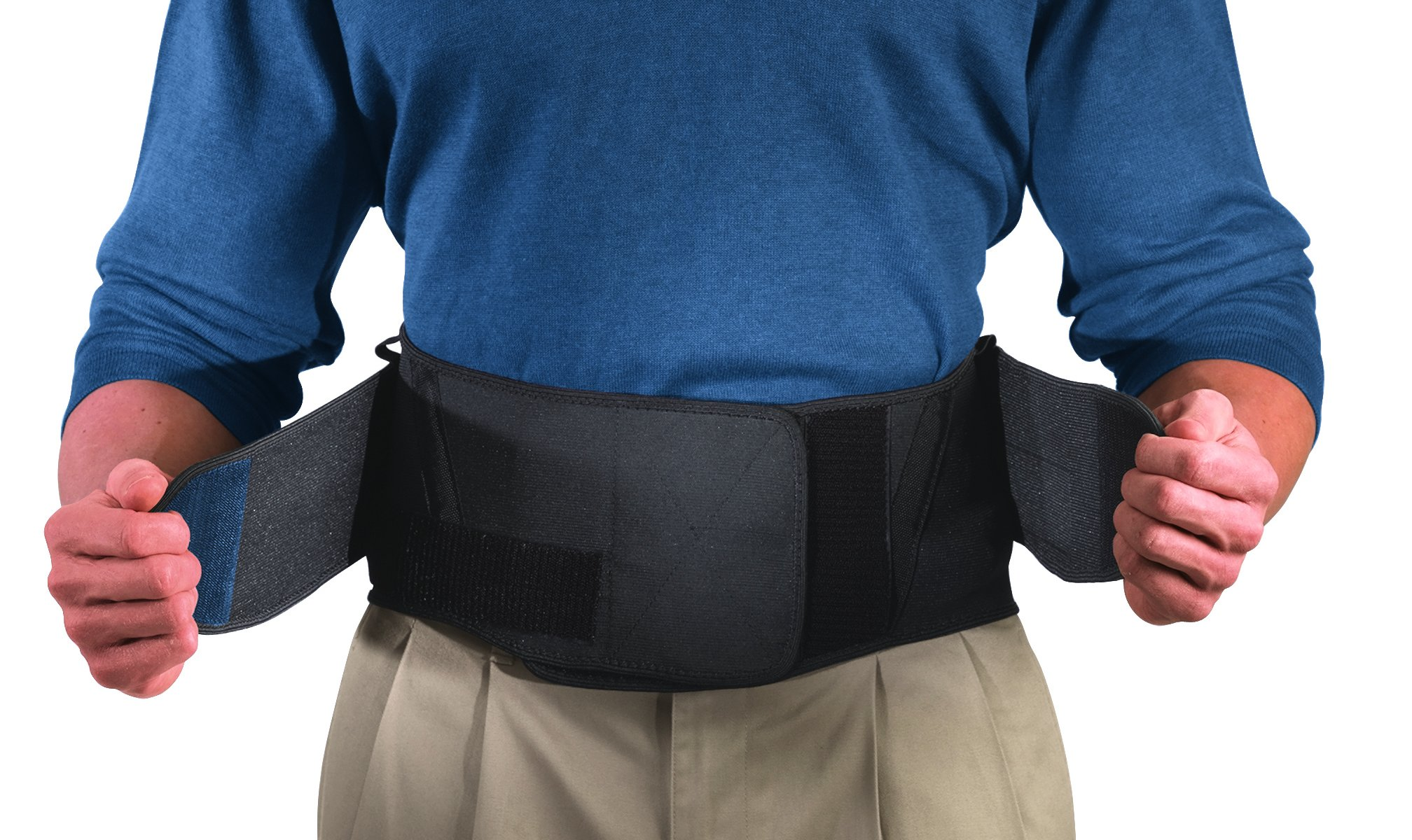 Mueller Adjustable Lumbar Support Back Brace with Removable Pad, Black, Plus Size (50'' - 70'' waist)