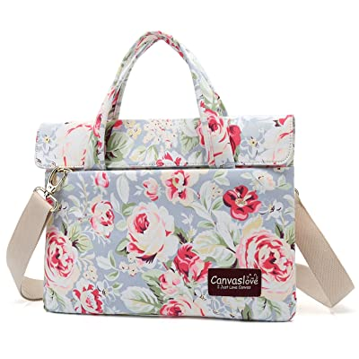 Canvaslove Blue Rose Pattern 13 inch Slim Lightweight Waterproof Laptop Shoulder Messenger Bag Case Briefcases for 11 inch 12 inch 13.3 inch laptop and Macbook Pro Air 13 Case Bag