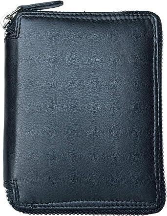 Genuine leather double zip around wallet ALL GENUINE LEATHER Wallet Black Leather  creme leather lining  Ladies Wallet brass zipper