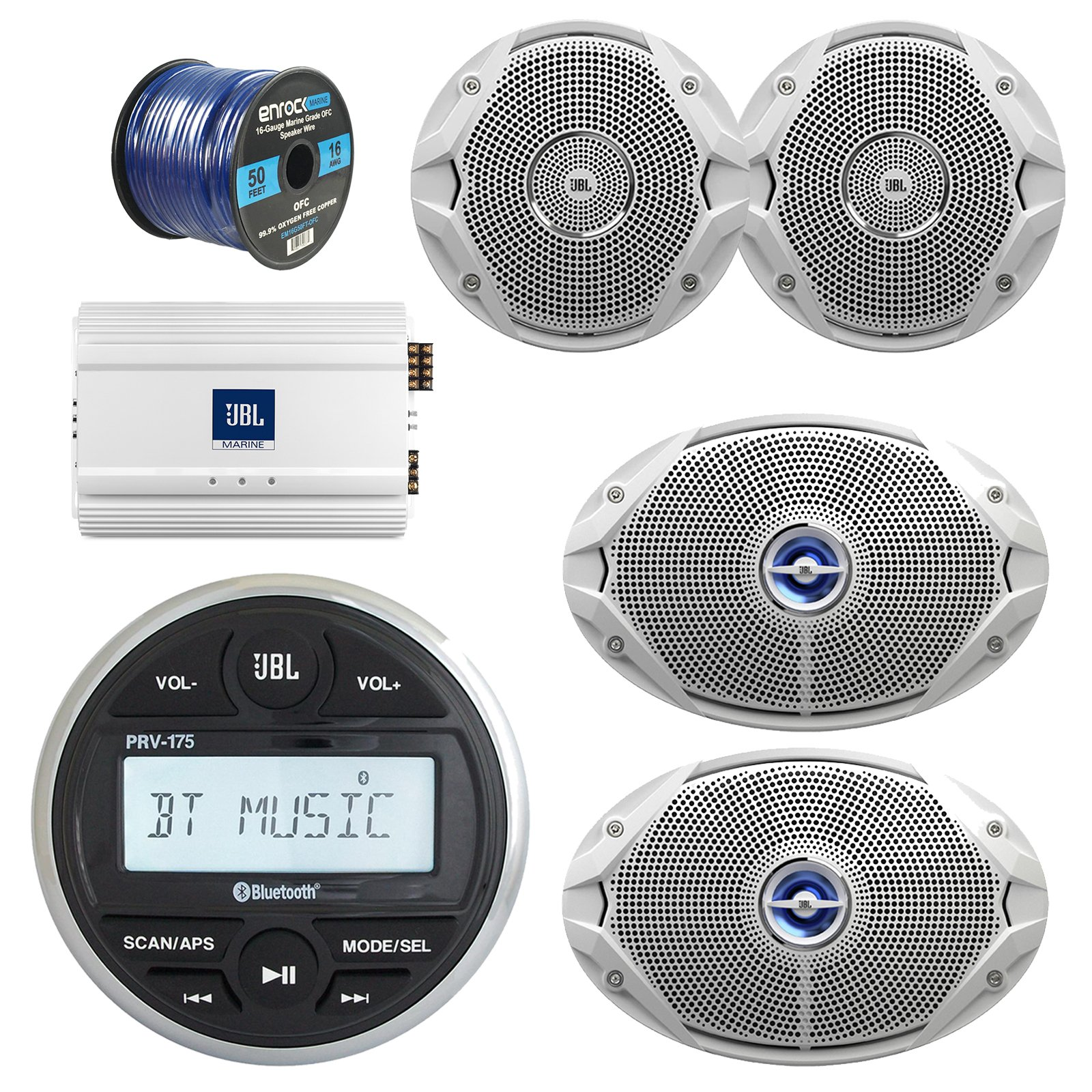 JBL Gauge Style Marine Digital Media Bluetooth Receiver, JBL 4-Channel Full-Range Marine Amplifier, 2x JBL 6x9'' 2-Way White Coaxial Speakers + 2x JBL 6.5'' Speakers + Enrock 50 Foot 16g Speaker Wire by JVC