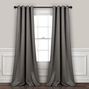 "Lush Decor, Dark Gray Curtains-Grommet Panel with with Insulated Blackout Lining, Room Darkening Window Set (Pair), 120"" L"