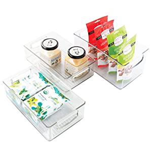 mDesign Plastic Stackable Kitchen Pantry Cabinet, Refrigerator or Freezer Food Storage Bin Container with Handles - Organizer for Fruit, Yogurt, Snacks, Pasta - Set of 3 - Clear