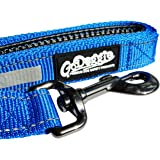 GoDoggie Reflective Dog Lead, Improved Dog Visibility & Safety, Reflective Stitching & Strips, Foam-Padded Comfy Handle, D-Ring, Premium Quality Components, Lifetime Guarantee, BLUE SMALL
