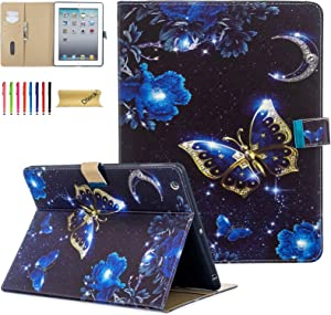 Dteck Case for iPad 2/3/4, Slim Fit PU Leather Kickstand Wallet Case with Auto Wake/Sleep Function Smart Case for Apple iPad 4th Generation with Retina Display, iPad 3, iPad 2, Sparkle Butterfly
