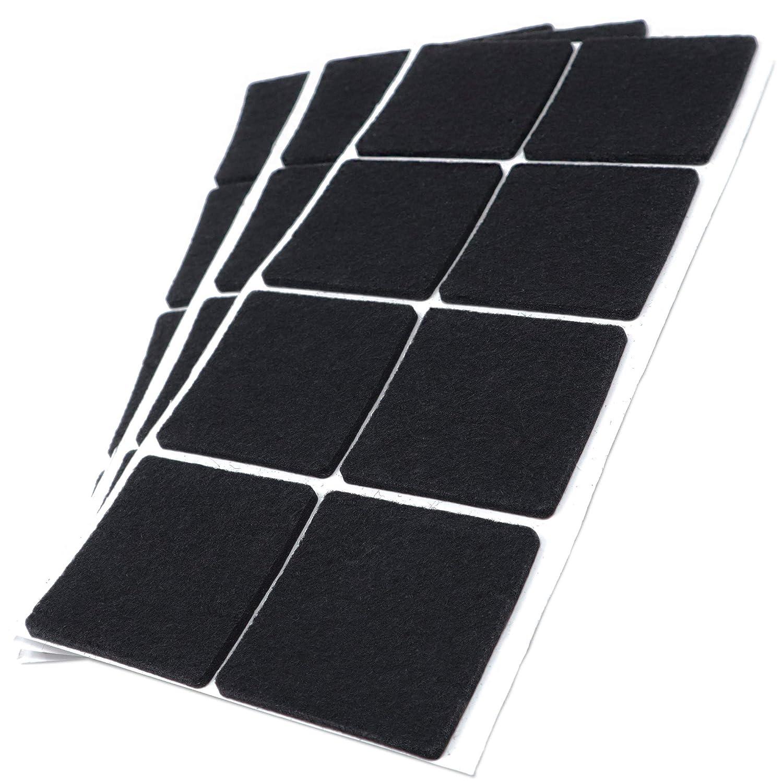 Adsamm Lot de 24 patins en feutre autocollants de qualité supérieure Noir 50 x 50 mm