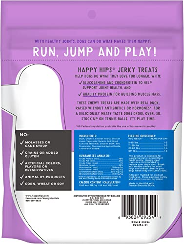 Happy Hips 100 Meat Jerky Dog Treats, Grain Free with Glucosamine Chondroitin for Joint Support