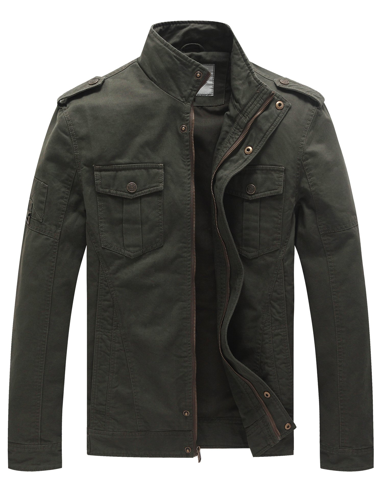 WenVen Men's Casual Cotton Military Jacket (Army Green, Medium) by WenVen