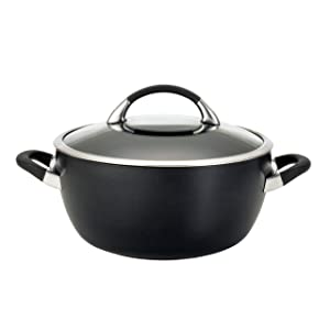 Circulon Symmetry Hard-Anodized Nonstick Covered Casserole, 5.5-Quart, Black