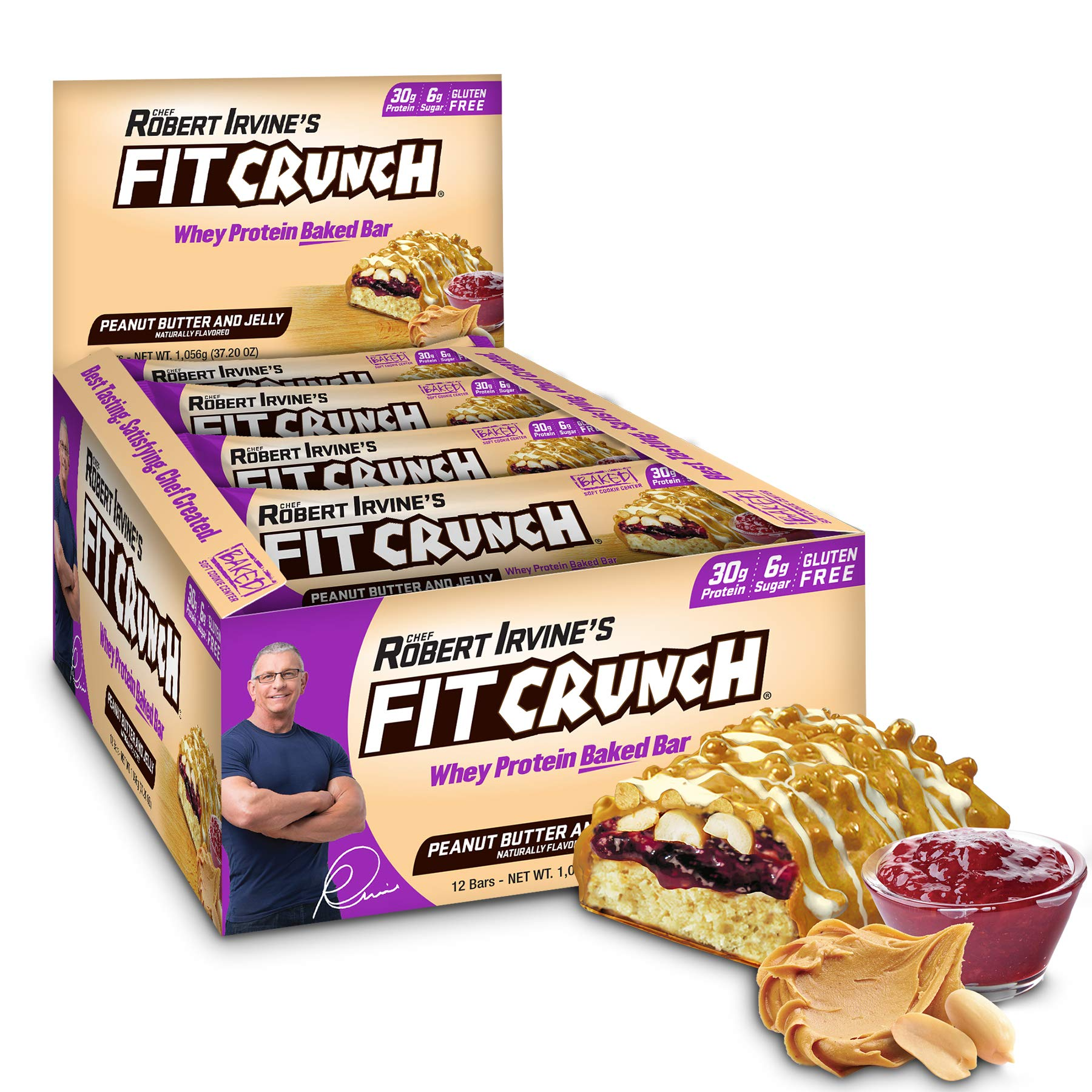 FITCRUNCH Protein Bars | Designed by Robert Irvine | World's Only 6-Layer Baked Bar | Just 6g of Sugar & Soft Cake Core (12 Bars, Peanut Butter & Jelly)