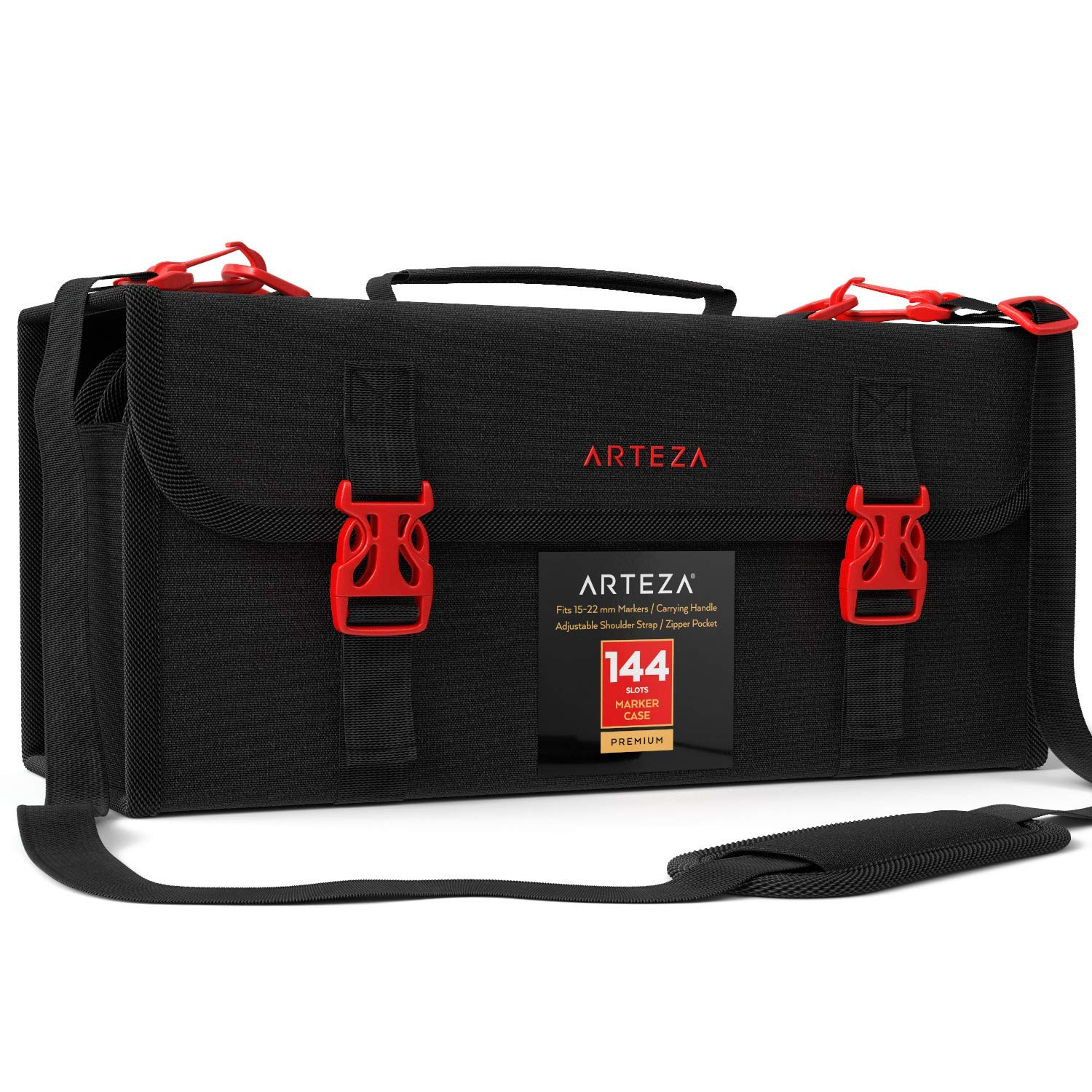 Arteza Art Markers & Pens Organizer (144 Slots), Carrying Case for Travel & Storage with Zipper Pocket, Handle, Removable & Adjustable Strap by ARTEZA