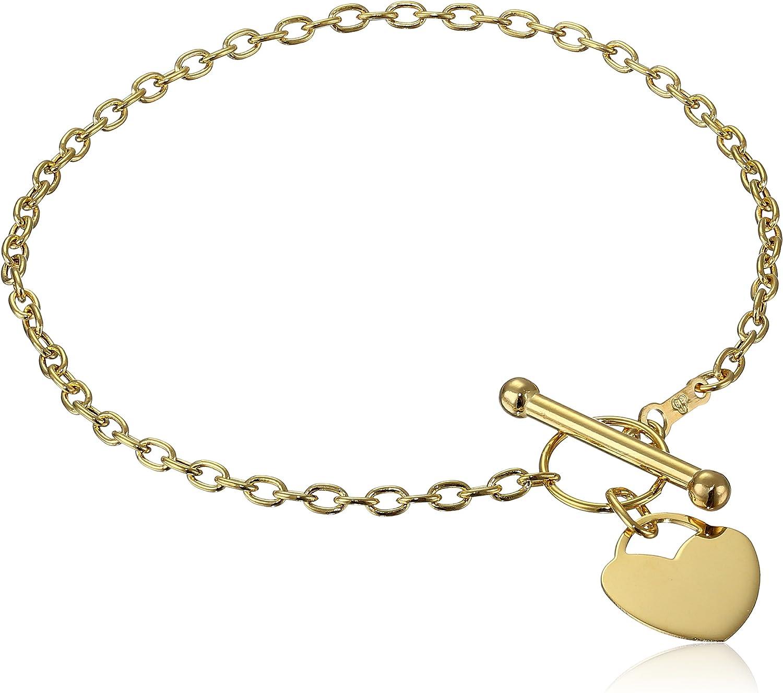 Oval Charm Bracelet Toggle Clasp 14K  14KT Yellow Gold