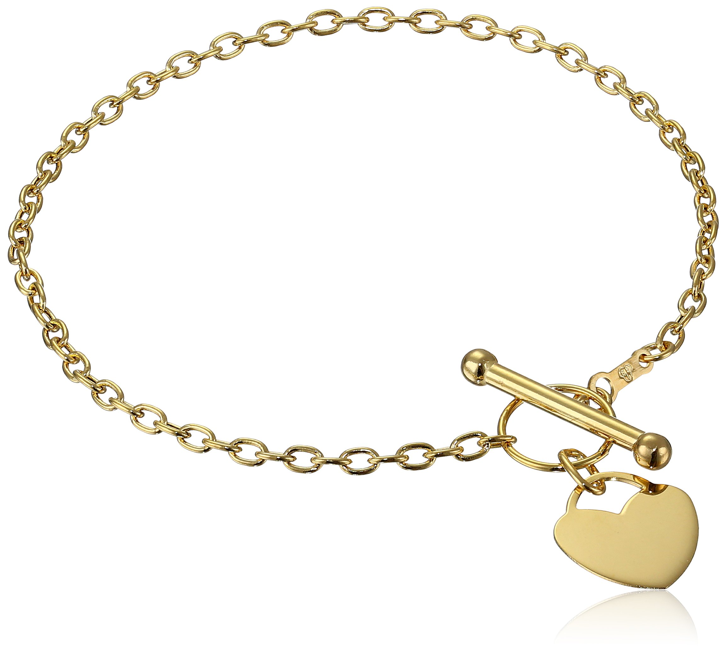 14k Yellow Gold Rolo Heart Tag Link Charm Bracelet, 7.5''