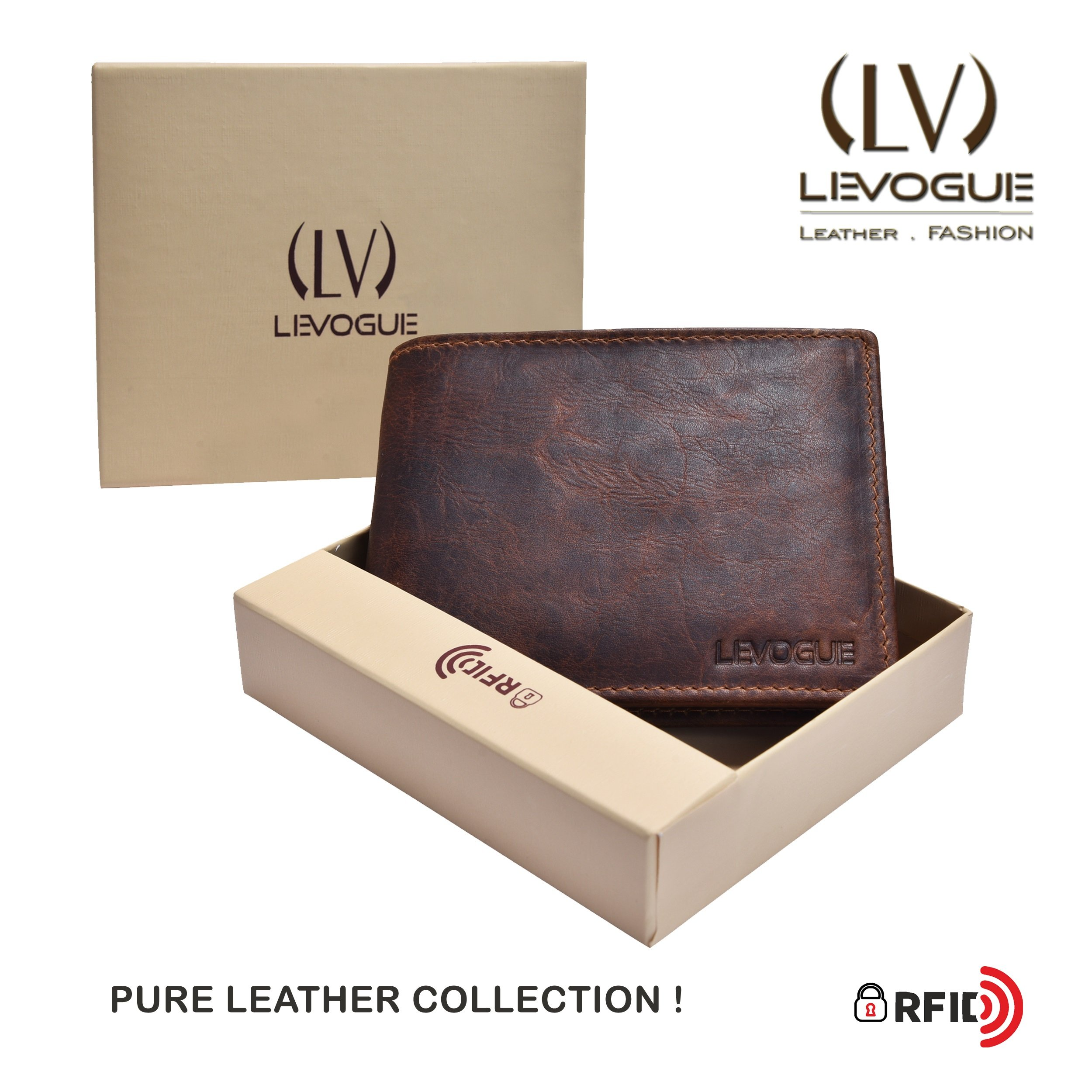 Genuine COW VINTAGE Leather RFID Blocking Handmade Bifold Wallet for Men 4 Credit card+1 ID Window+2 Note Compartment Minimalist Front Pocket Wallet- 100% Full Grain Cow Leather by LEVOGUE by LEVOGUE (Image #7)