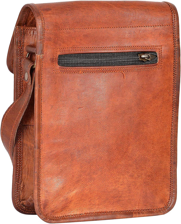 7x9 Inch Leathercraft Genuine Leather Unisex Brown Small Crossbody Adjustable Shoulder Strap Messenger Mobile Holder sling bag