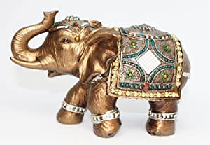 """Feng Shui 6"""" Elegant Indian Elephant Trunk Statue in Presentable Box and Gift Bow~Wealth Lucky Figurine Home Decor Gift (Idea for Christmas Valentine's Day, Birthday)"""