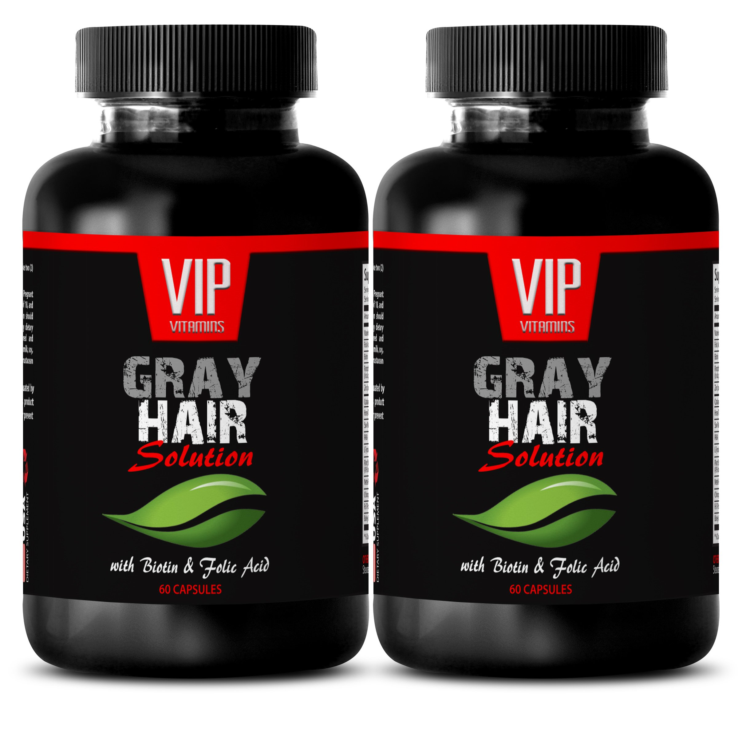 Biotin for Hair Growth - Gray Hair Solution - Hair vitamins for faster hair growth (2 Bottles 120 capsules)