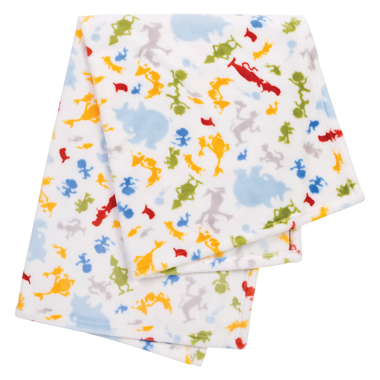 Gray Art Deco Lions Scallop Trend Lab Plush Baby Blanket