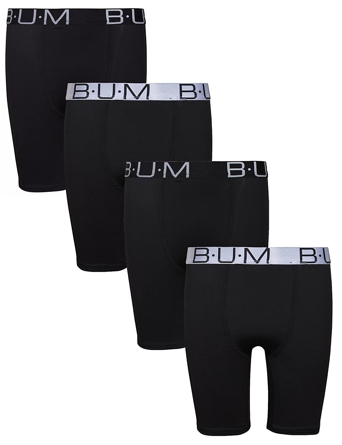 B.U.M. Equipment Boys' Performance Dri-Fit Compression Boxer Briefs (Pack of 4)
