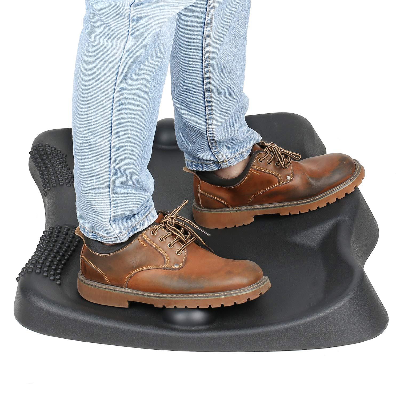 Sokiss Not-Flat Standing Desk Anti-Fatigue Mat with 2 Massage Balls, Obsidian Black