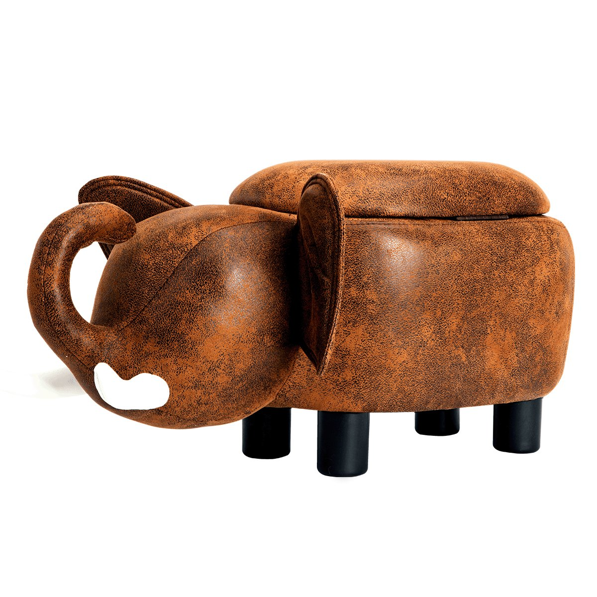 GUTEEN Upholstered Ride-on Toy Seat Storage Ottoman Footrest Stool with Vivid Adorable Animal-Like Features(Brown elephant)
