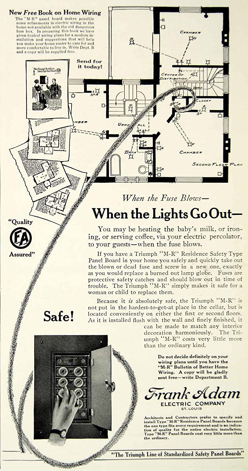 Amazon.com: 1922 Ad Frank Adam Electric Triumph M-R Residence Safety  Fusebox Panel Floorplan - Original Print Ad: Entertainment Collectibles