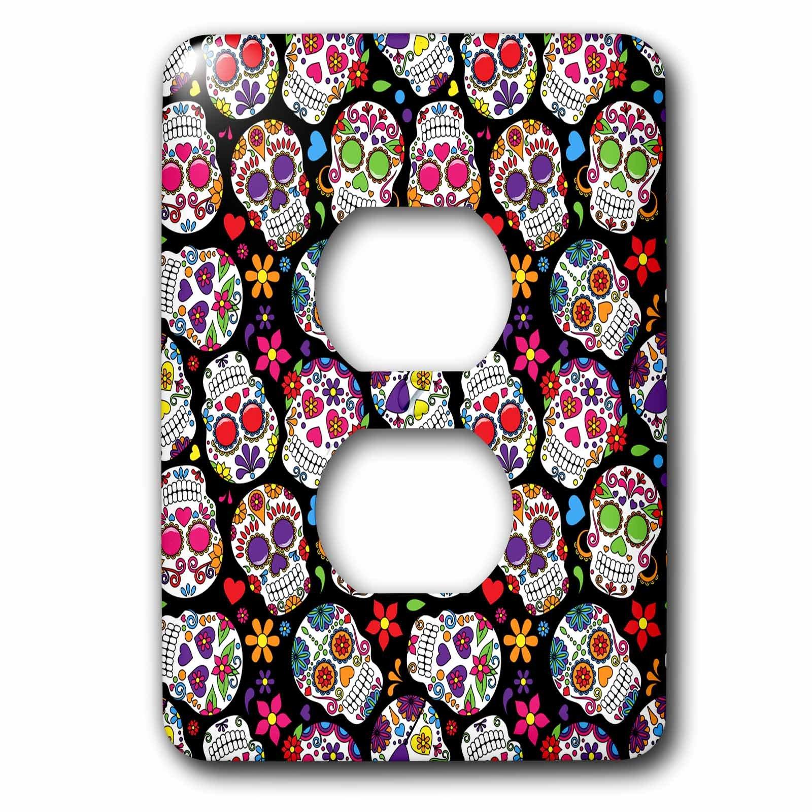 3dRose lsp_216983_6 Colorful Tossed Sugar Skulls Pattern 2 Plug Outlet Cover