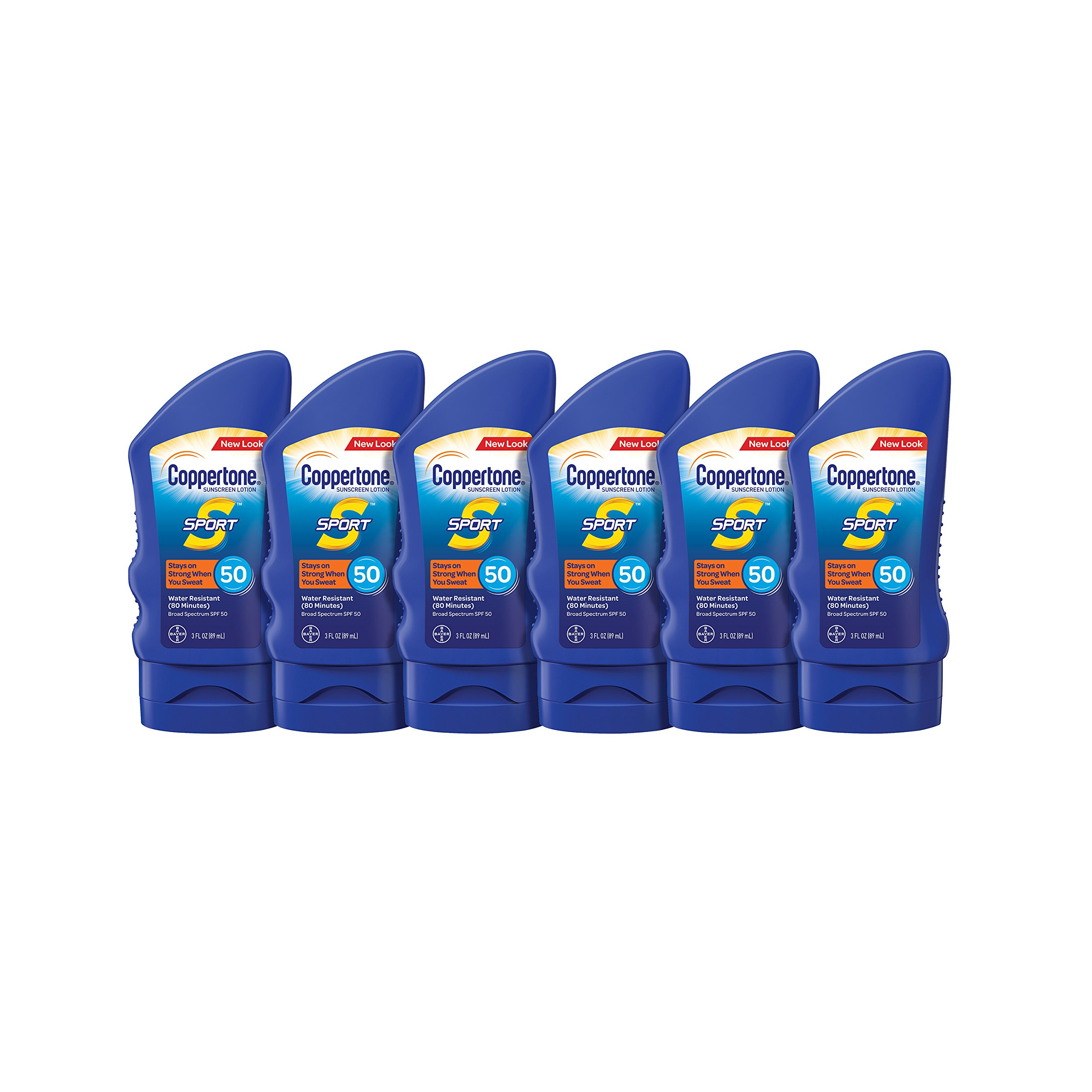 Coppertone SPORT Sunscreen Lotion SPF 50 Travel Size Multipack (3-Fluid Ounce Bottle, Pack of 6)