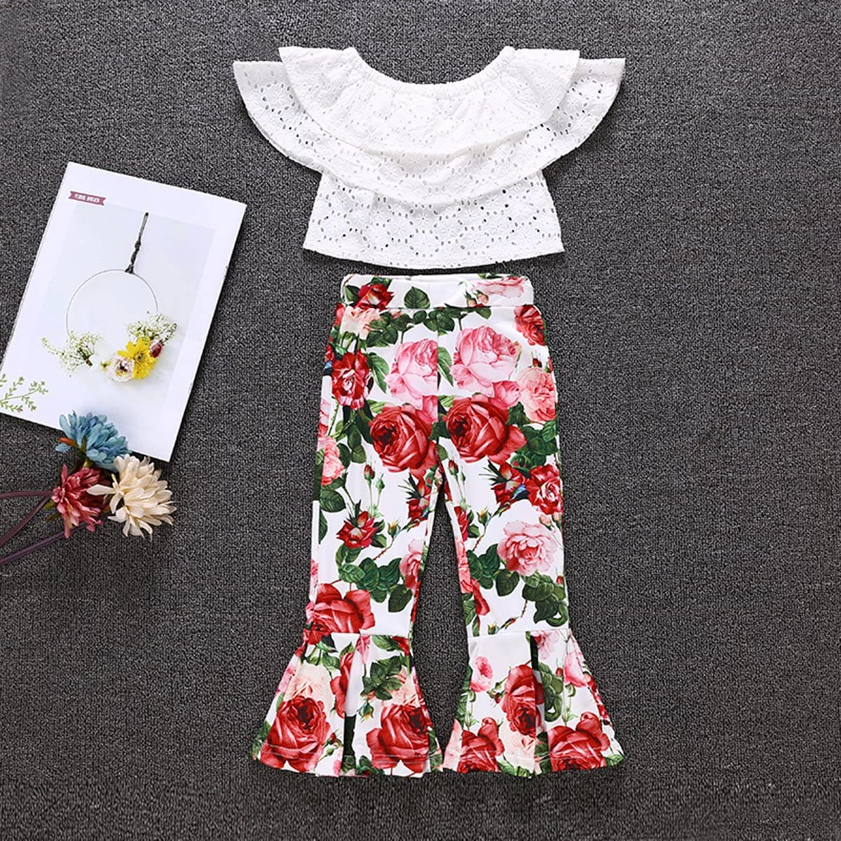 Floral Bell Bottom Pants Outfits Set puseky 2pcs Toddler Girls Hollow Out Ruffle Crop Shirt