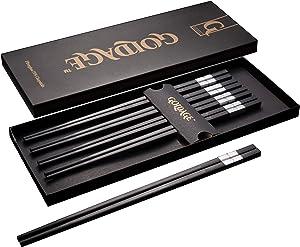Goldage Fiberglass Dishwasher-safe Chopsticks - Hourglass (5-Pairs-Silver)