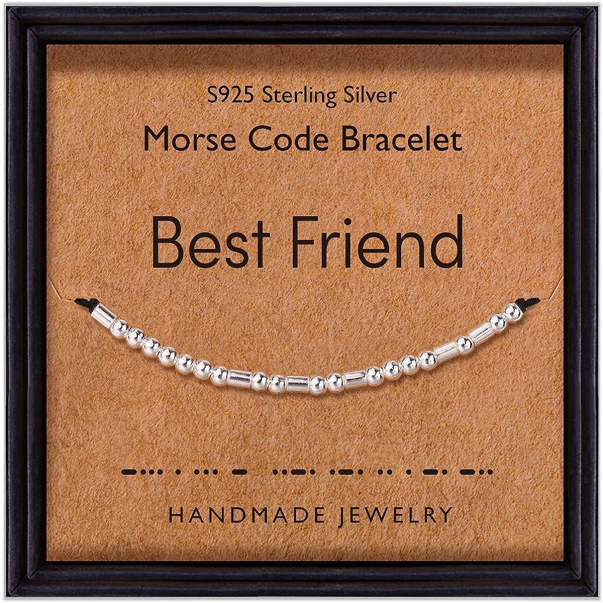 Suyi Regalo De Pulsera De Código Morse para El Mejor Amigo 925 Cuentas De Plata Esterlina En Joyería De Cordón De Seda para Mujeres Niñas Cumpleaños