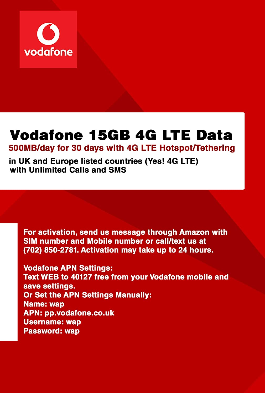 Vodafone 10GB 4G LTE Data (500MB/day for 20 Days) with 4G LTE  Hotspot/Tethering in UK and Europe Listed Countries (Yes! 4G LTE) and  Unlimited Calls
