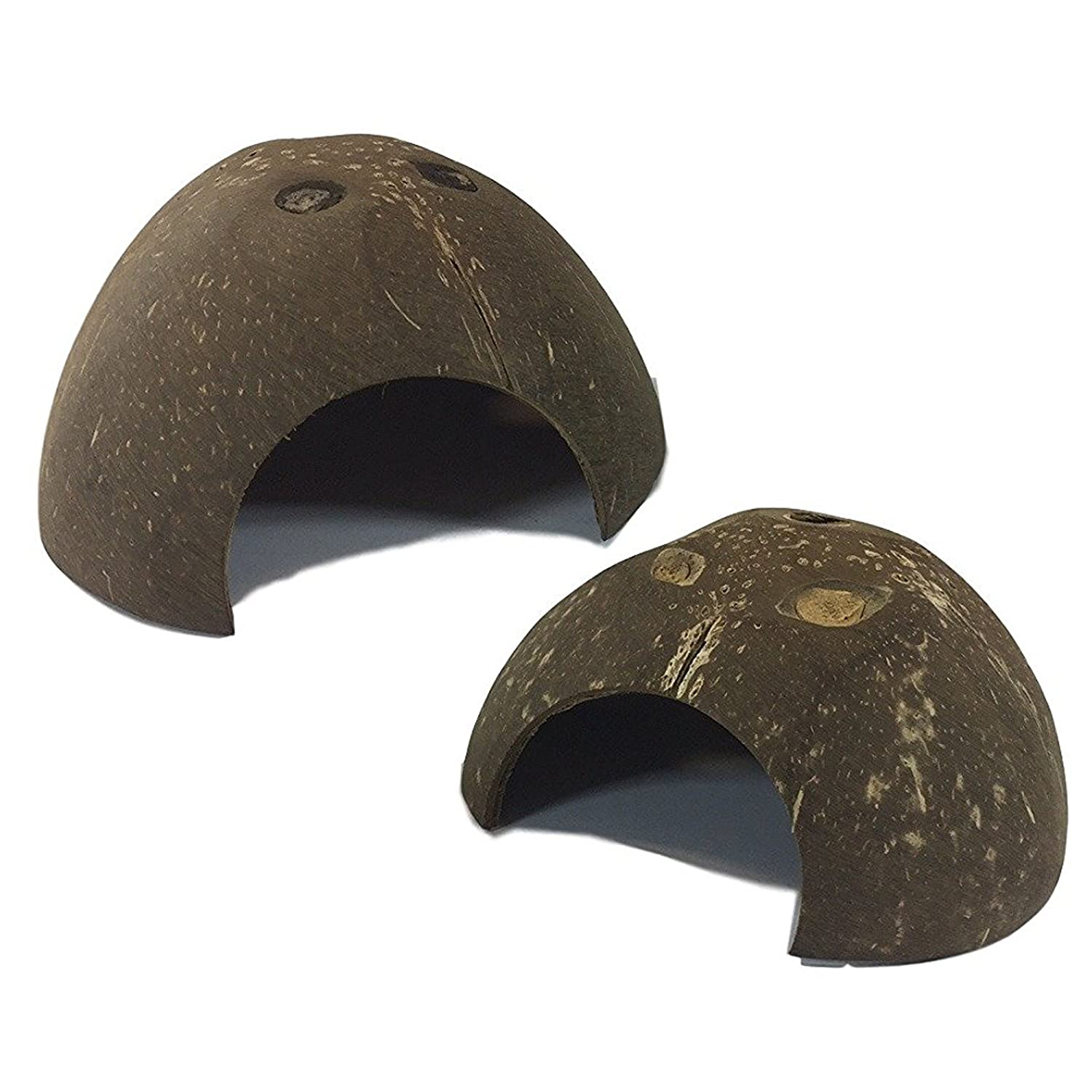 Set of 2 Coconut Shell Hut Natural Habitat Hideout for Spiders, Hermit Crabs, Reptiles, Hamsters, Fish Ark Street