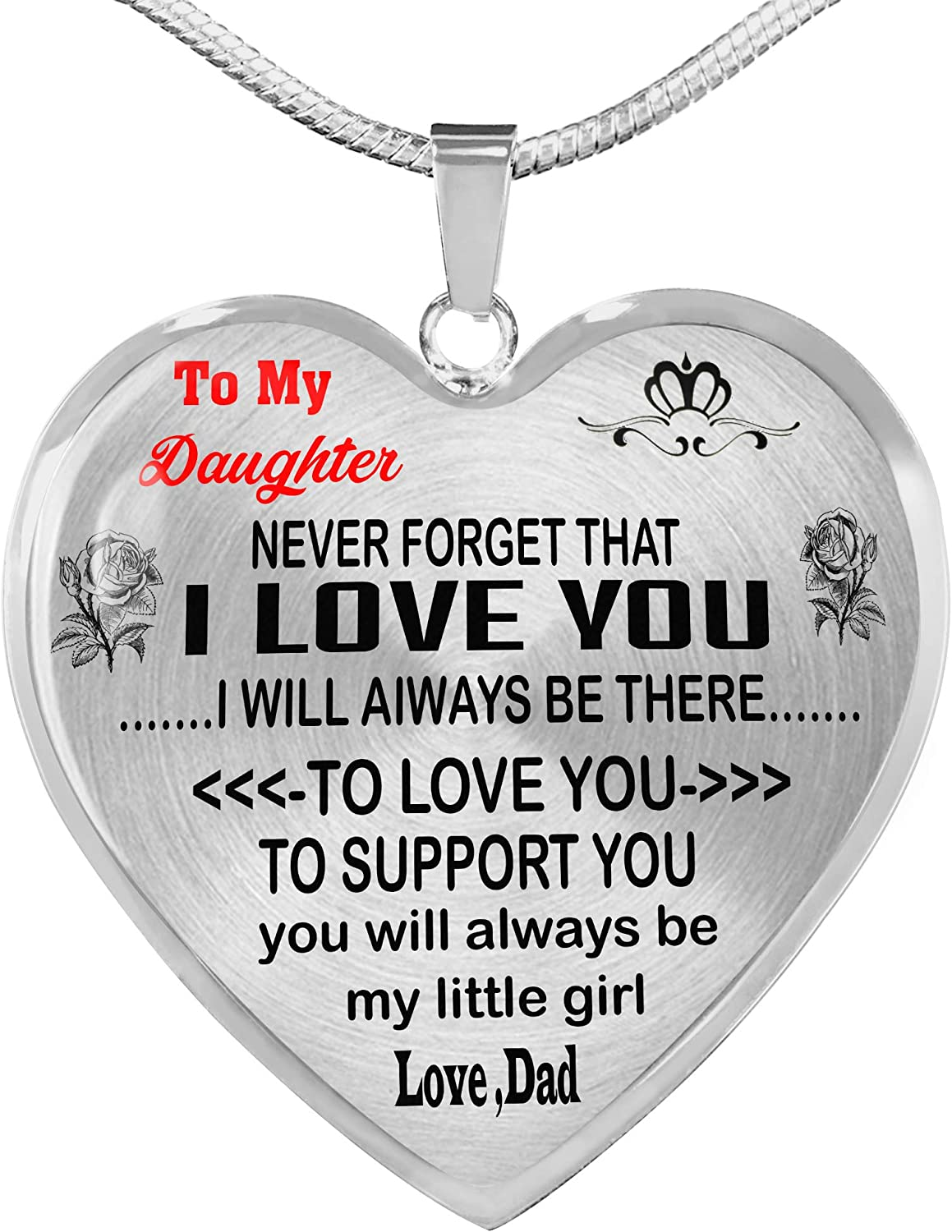 Sliver Heart Pendant WOLMUG to My Daughter Necklace Love You Best Gift for Daughter from Mom