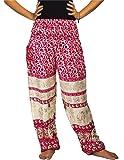 Lofbaz Damen Haremshose mit gesmoktem Bund gedruckt Aladin Rose Bunt Boho Hosen