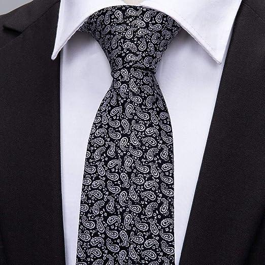 KDSXMLS Moda Negro Paisley Boda Corbata Conjunto 100% Seda ...