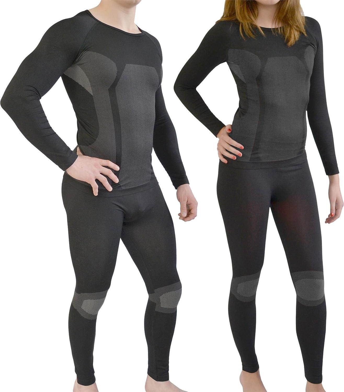 Sport Funktionswäsche Garnitur (Hose + Hemd) für Damen und Herren - Ski Unterwäsche mit Elasthan von normani® Farbe Schwarz/Grau Größe L/XL