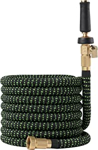 Garden Hose Flexible Expandable Retractable - GreenFriendlyHome Kink Free Expanding Water Hose, Strongest Fabric Multi Latex Core, Solid Brass Fittings, Strongest Spray Nozzle (Black Green 75 FT)