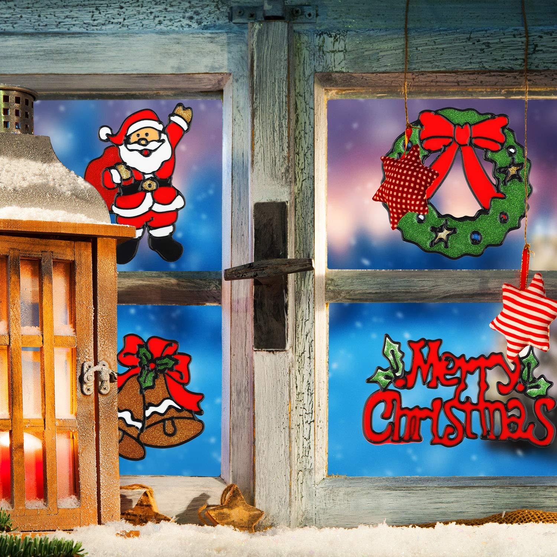 24 Pezzi Finestra di Natale Cling Natale Finestra Gel Cling Adesivi Vetrofanie Decalcomania Finestra di Natale Riutilizzabili per Natale Fai Da Te Arte Auto Casa Vetro Parete Finetra Decorazione