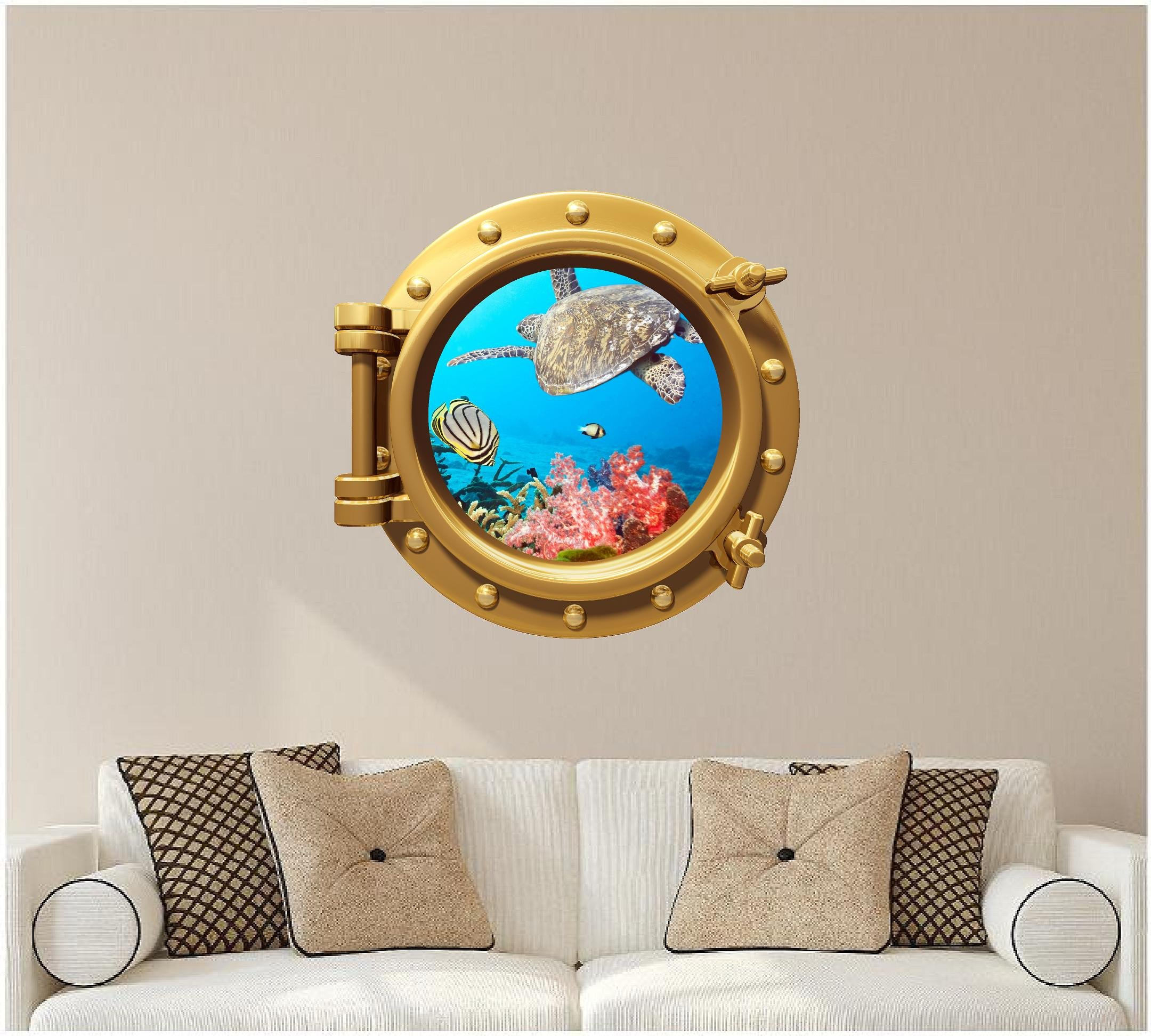 24'' Port Scape WALL DECAL! TROPICAL REEF LIFE #1 BRONZE Porthole 3D Instant Window Sticker Home Kids Game Room Mural Art Decor