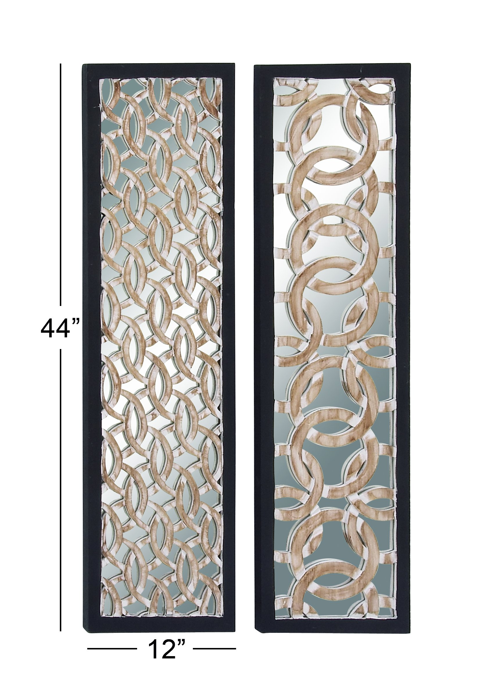 Deco 79 23768 Wood Mirror Wall Panel, 12'' x 44''