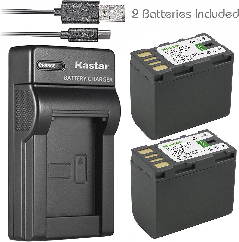 Kastar Battery (X2) & Slim USB Charger for JVC BN-VF823 BNVF823 and Everio GS-TD1 GY-HM70U HM100U HM150U HMZ1U MG230 MG360 MG365 MG430 MG435 MG465 MG555 MG730 MS120 MS130 HD3 HM1 HM200 HM400 X900r