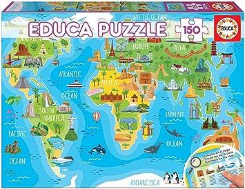 Educa- Mapamundi Monumentos Puzzle Infantil de 150 Piezas, a Partir de 6 años (18116): Amazon.es: Juguetes y juegos