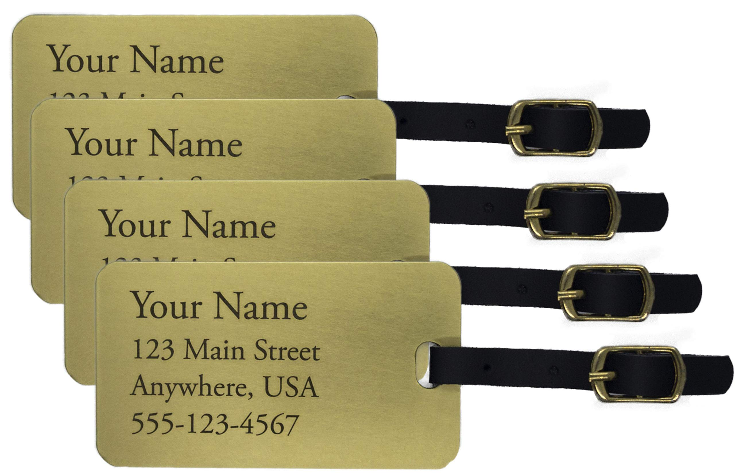 Deeply Engraved Custom Metal Luggage Tags (Four, Large Brass) by Generic
