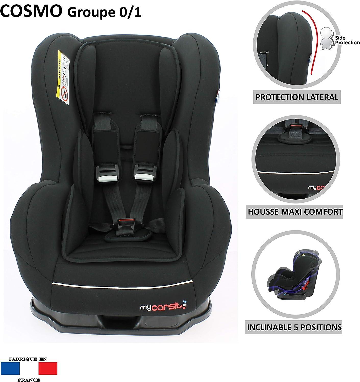Mycarsit desde el nacimiento hasta 18kg Inclinable en 4 posiciones Silla de coche pivotante 360/º fabricado en francia Grupo 0+//1 4 colorido