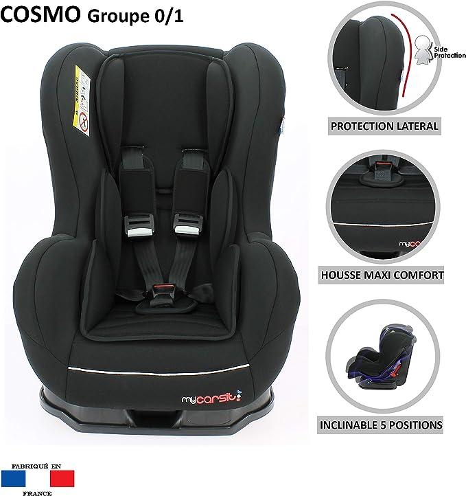 4 colorido 4 estrellas test tcs reposa cabeza y asiento acolchados Mycarsit protecciones laterales Silla de coche grupo 0+ de 0 a 13 kg fabricaci/ón 100/% francesa