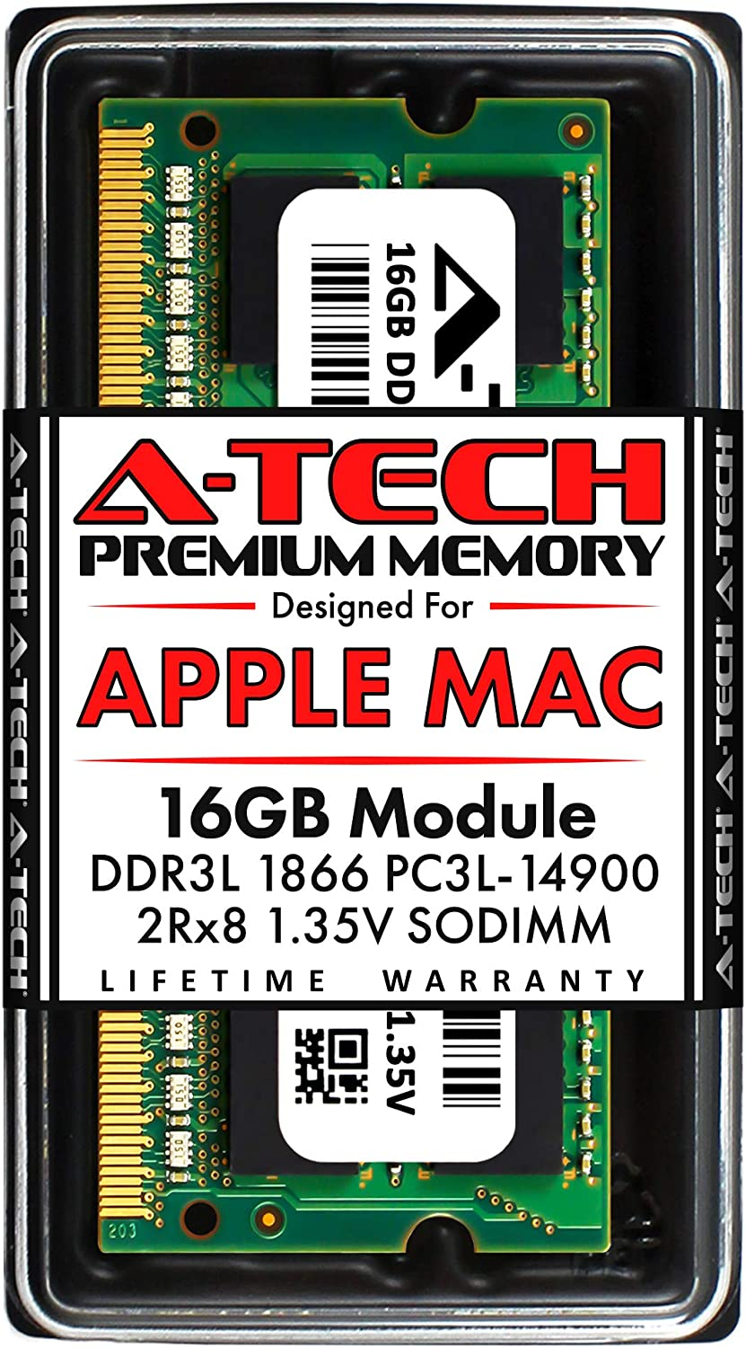 A-Tech 16GB RAM for Late 2015 iMac 27 inch Retina 5K | DDR3L 1866MHz / 1867MHz PC3L-14900 SO-DIMM 204-Pin CL13 1.35V Non-ECC Unbuffered Memory Upgrade Module
