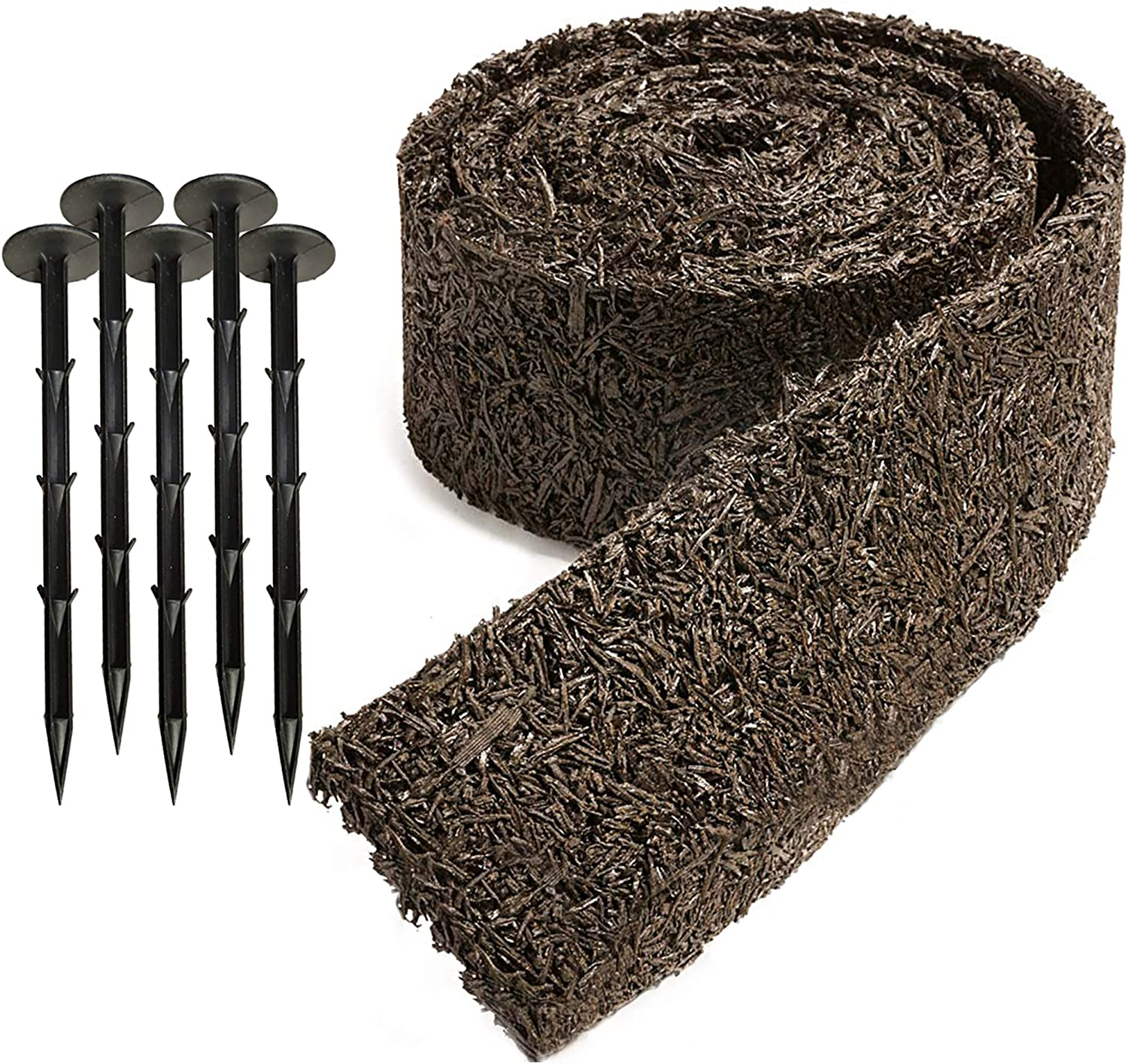 """Black Rubber Mulch Border for Landscaping, 120"""" x 4.5"""" Roll, Natural-Looking Permanent Garden Barrier for Plants, Vegetables, and Flowers, Recycled and Sustainable, 15 Plastic Anchors Included"""