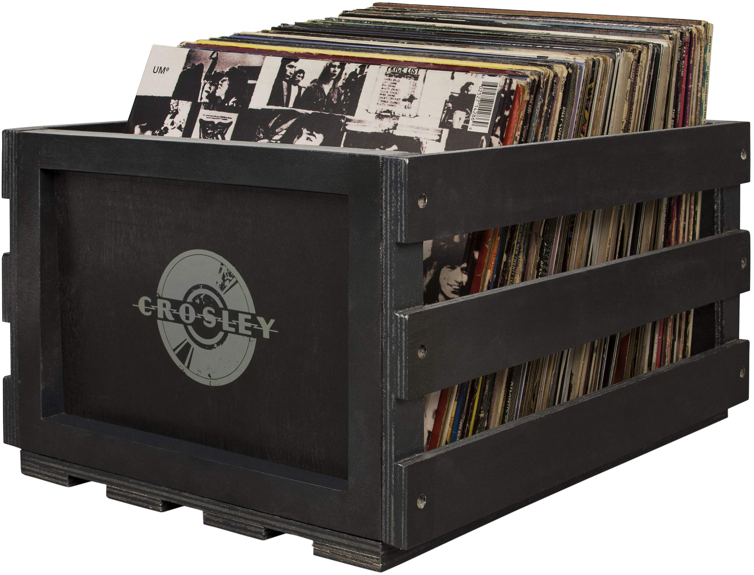Crosley AC1004A-BK Record Storage Crate Holds up to 75 Albums, Black by Crosley (Image #1)